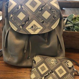 Michael Kors Snake Skin Backpack with Wristlet